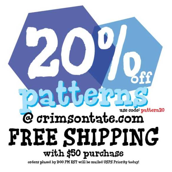 Free Shipping on ORDERS $50+ plus save 20% on patterns! Use code: pattern20